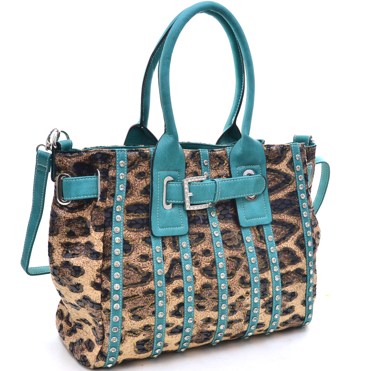Women's Belted Leopard Print Fashion Tote Bag Striped with Rhinestones