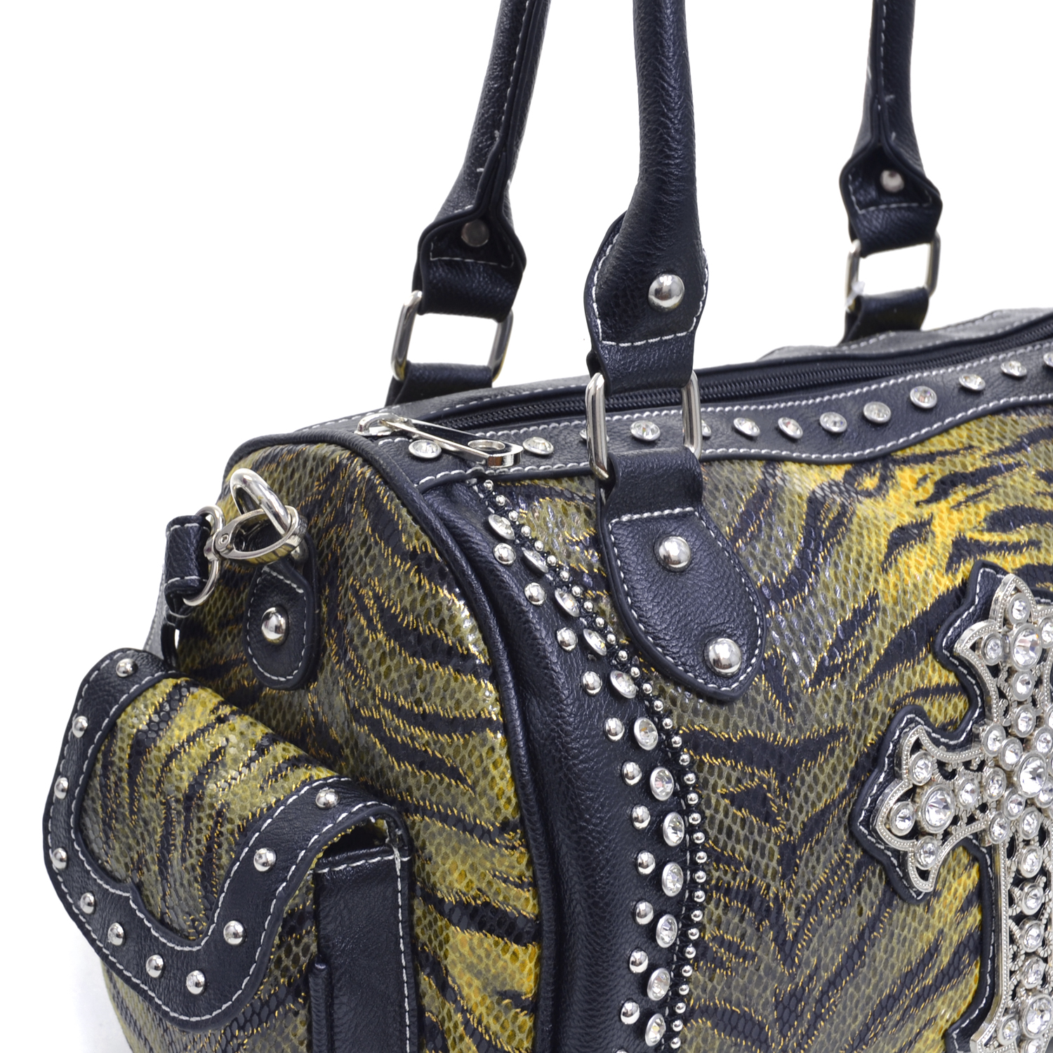 Women's Rhinestone Cross Adorned Shoulder Bag with Animal Print and Side Exterior Pockets