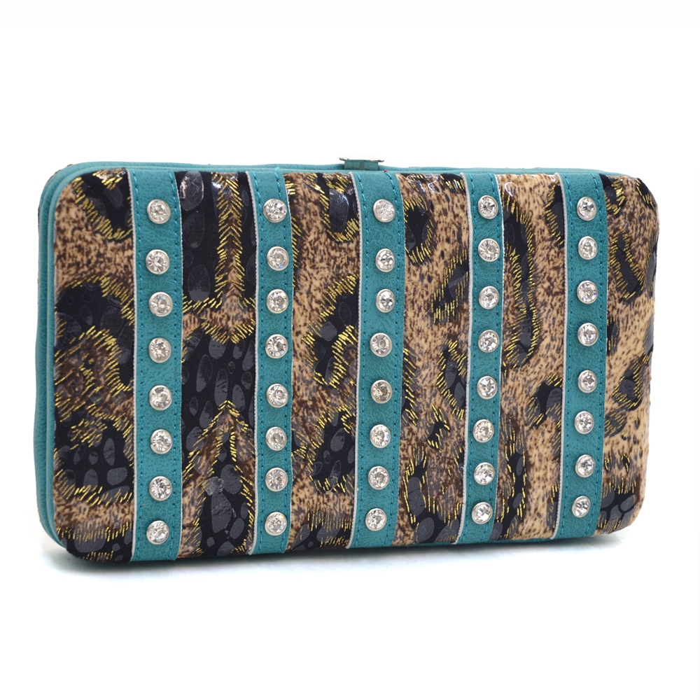 Women's Leopard Print Fashion Frame Wallet Striped with Rhinestones