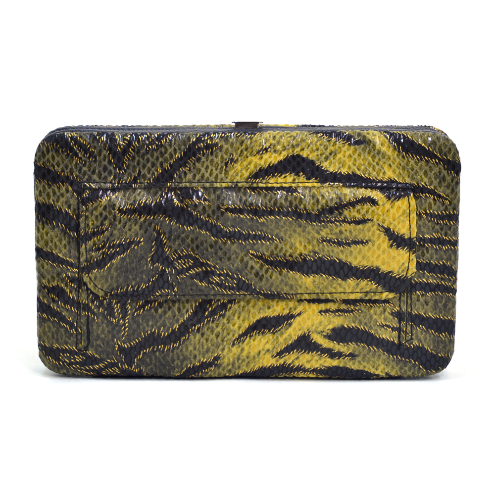 Women's Tiger Print Fashion Frame Wallet with Rhinestone Cross and Studs