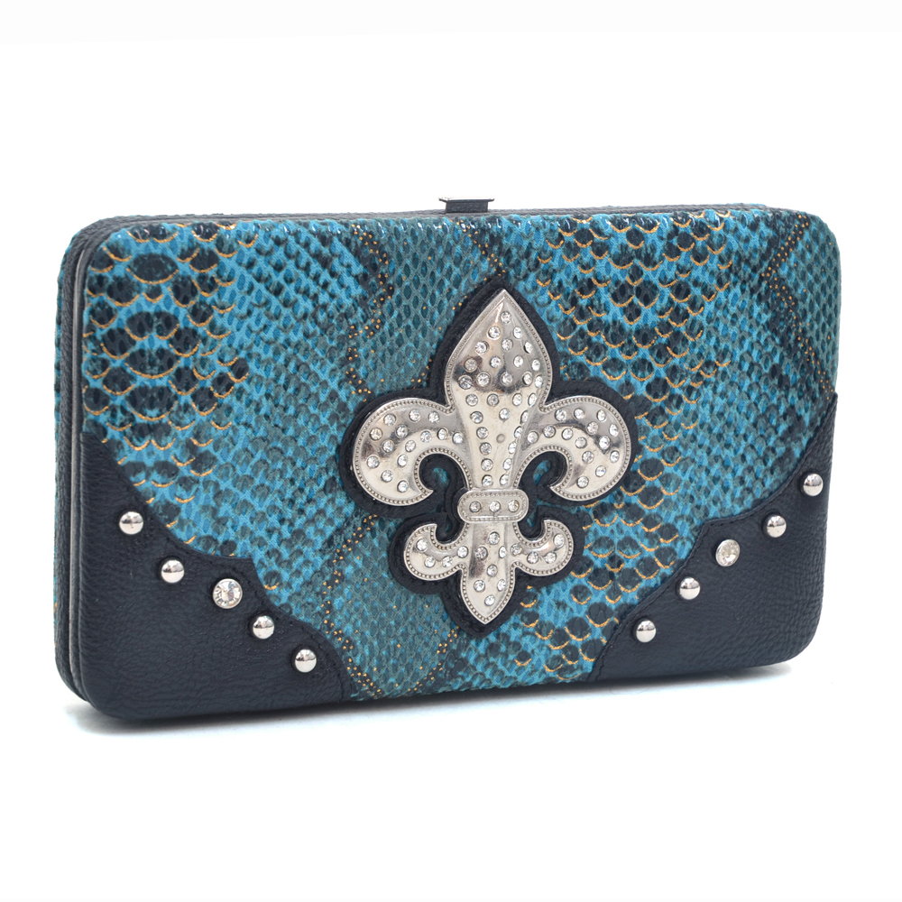 Women's Snakeskin Fashion Frame Wallet with Rhinestone Fleur de Lis  and Studs