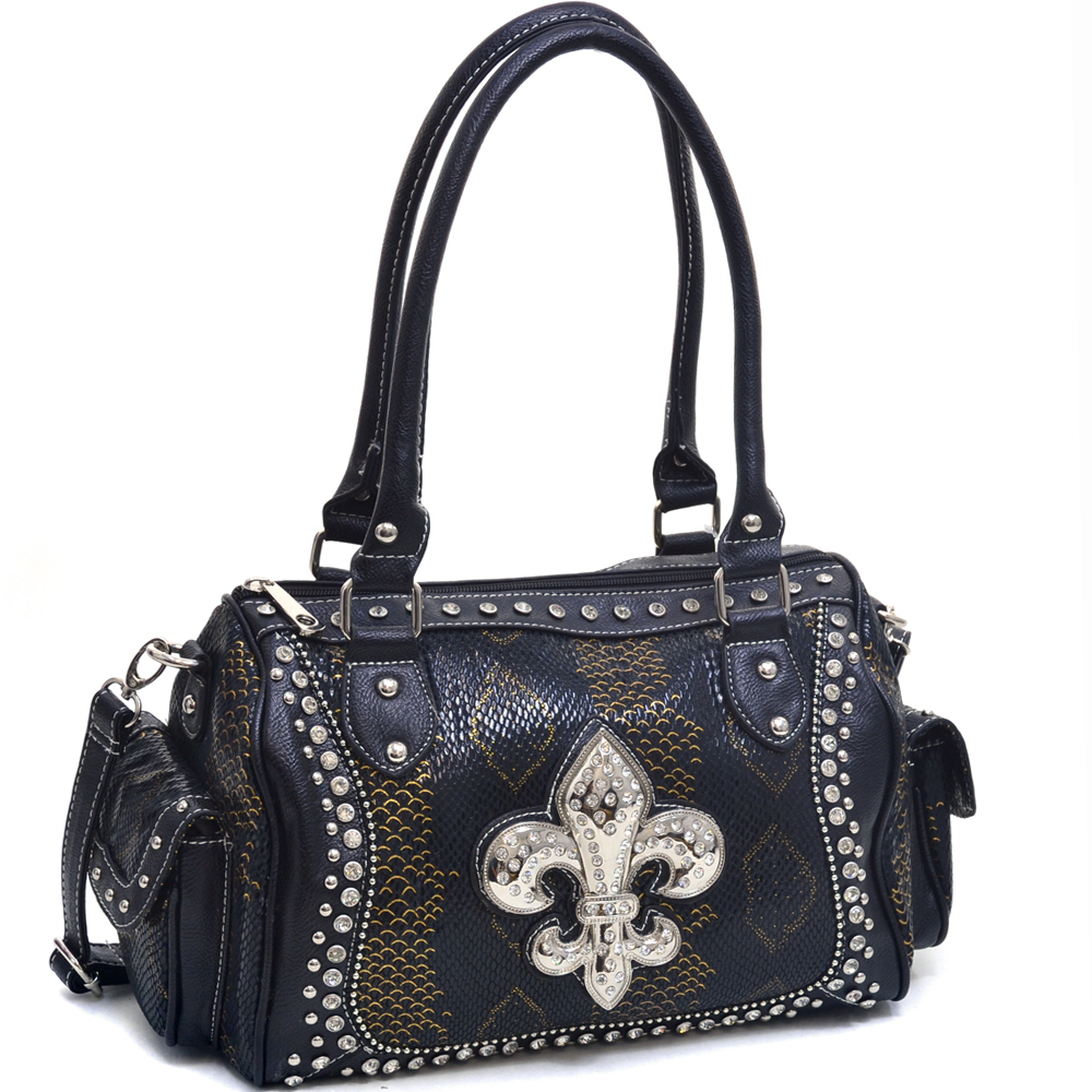Women's Rhinestone Fleur de Lis Adorned Snakeskin Shoulder Bag