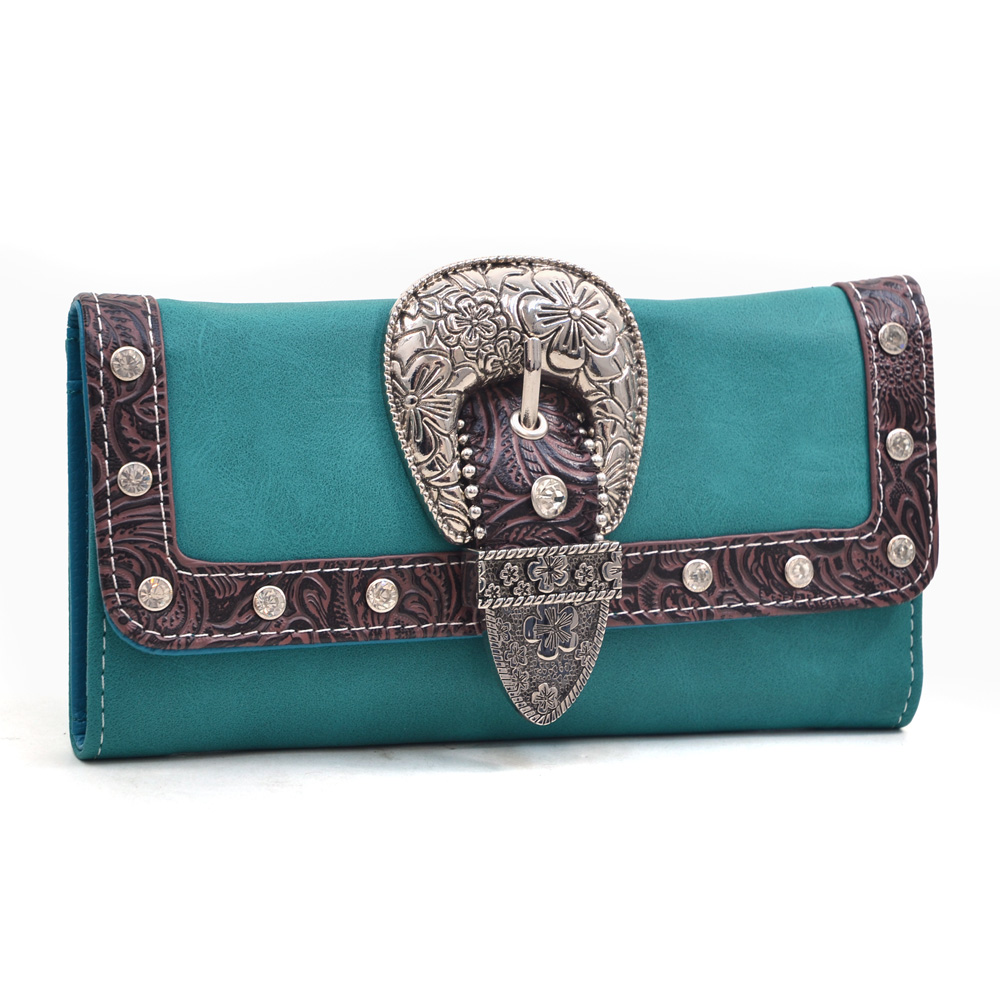 Women's Western Rhinestone Studded Wallet with Floral Buckle and Trim - /Coffee