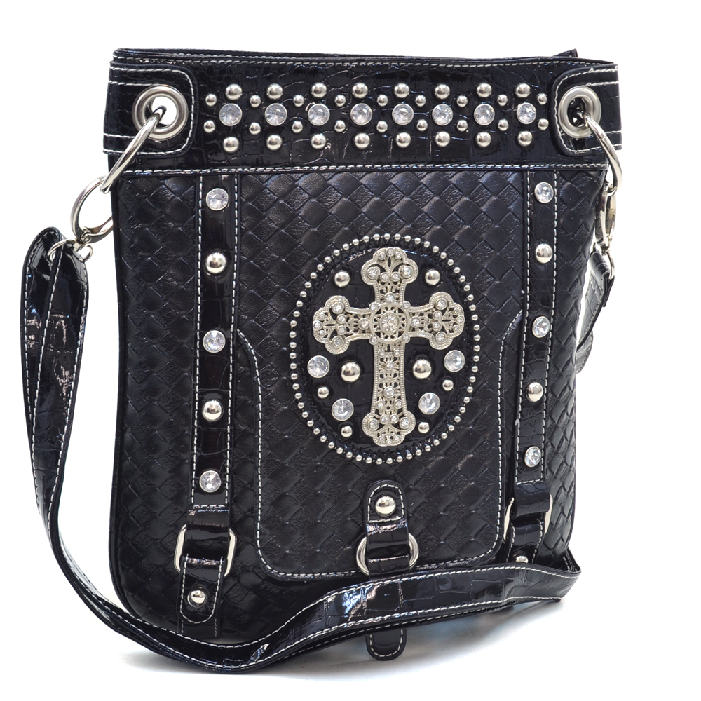 Rhinestone Studded Western Messenger Bag with Cross Accent