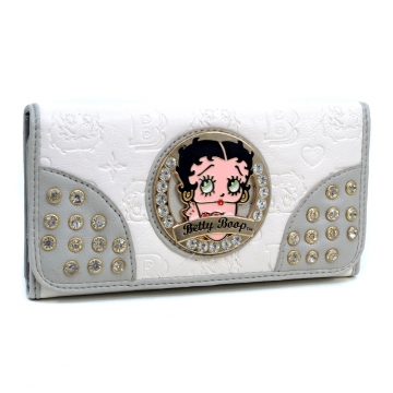 Betty Boop® Rhinestone Decor Checkbook Wallet with Etched Designs - White