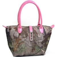 Dasein® Twist Lock Tote Bag in Realtree® Camouflage-Faux Croc Coffee Trim