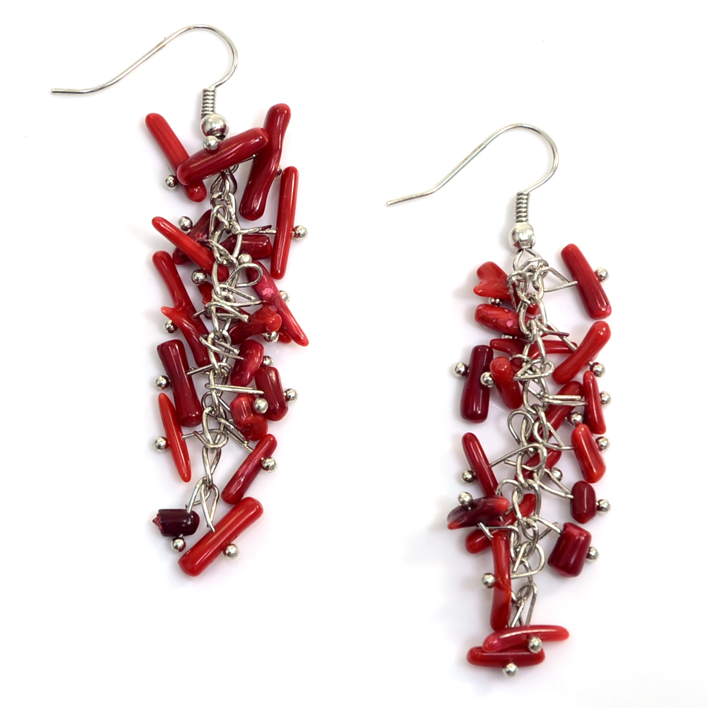 Firecracker Inspired Chandelier Earrings with Red Beads
