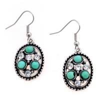 Ellipse Chandelier Style Earrings with Turquoise Beads and Rhinestones
