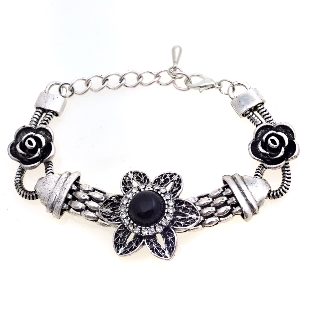 Silver Tone Floret Adorned Bracelet with Colored Stone