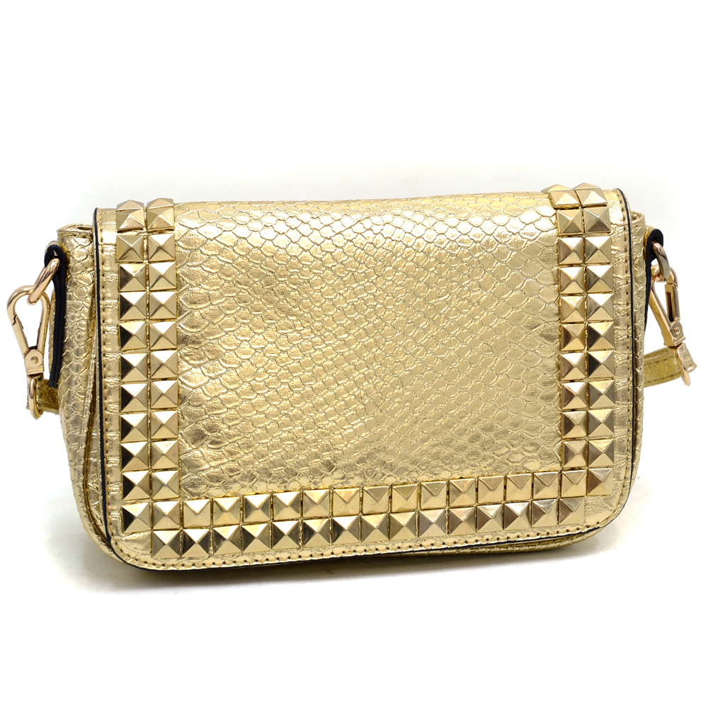 Emperia® Gold Pyramid Studded Messenger Bag