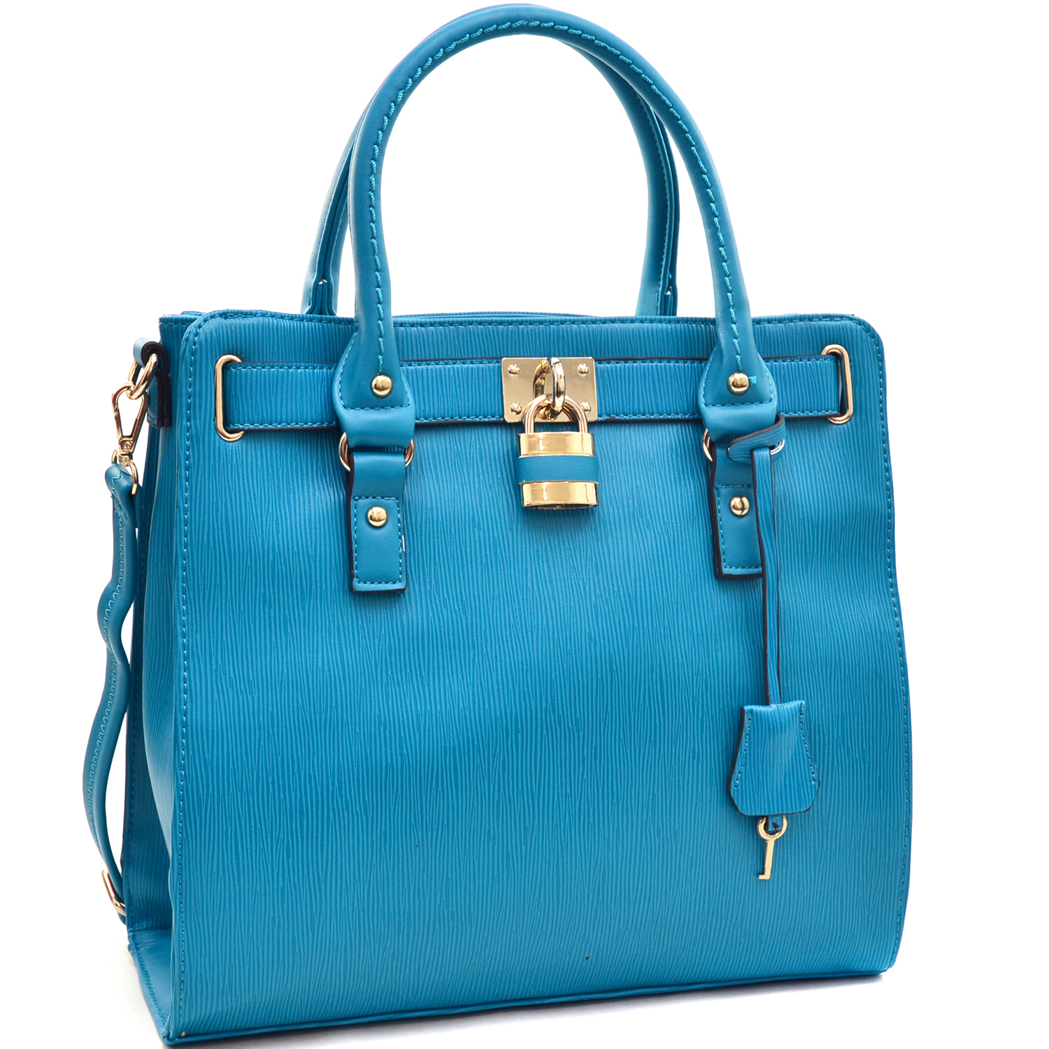 Epi Texture Satchel with Lock Accent and Key Tassel