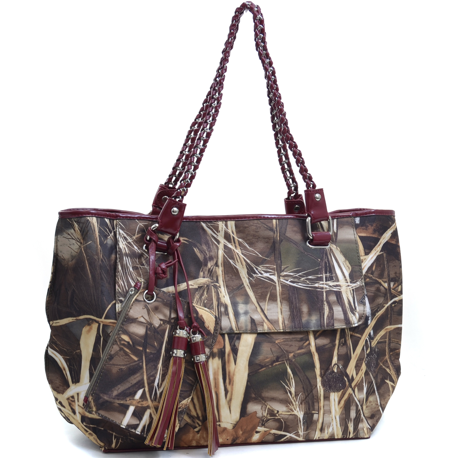 Realtree ® camouflage tote bag w/ coin purse & tassels