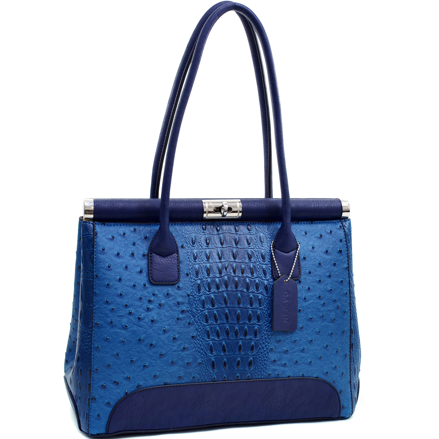 Dasein® Ostrich and Croco Fusion Square Shoulder Bag
