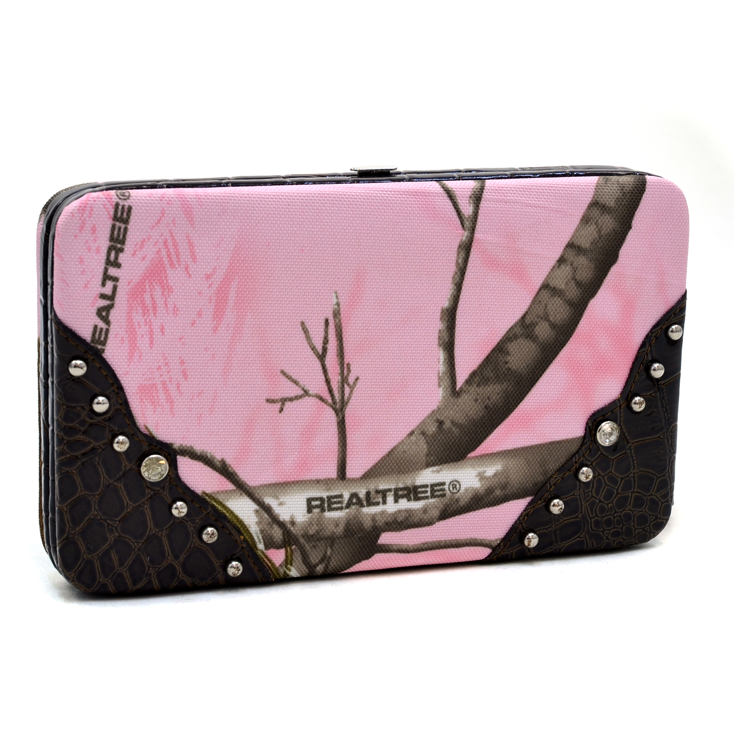 Realtree® AP Pink Camo Frame Wallet with Studded Croco Trim