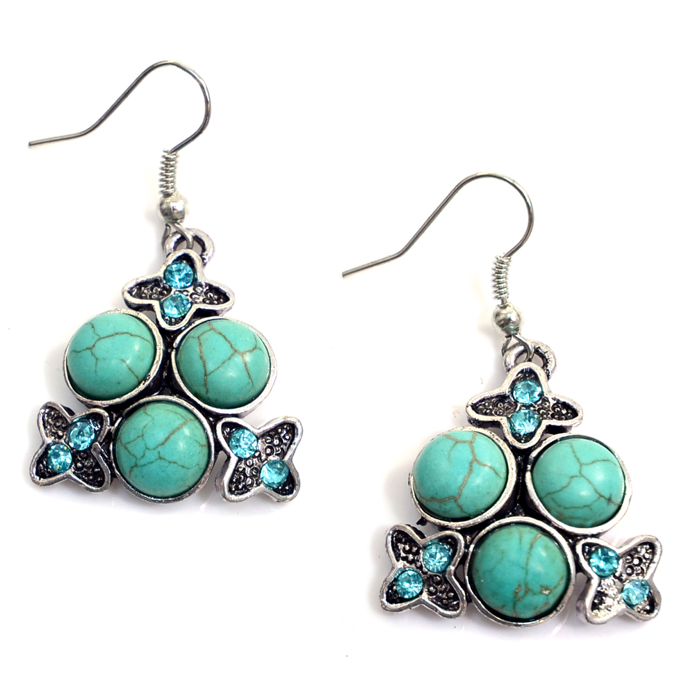 Turquoise Marine Dangle Earrings with Mini Rhinestones