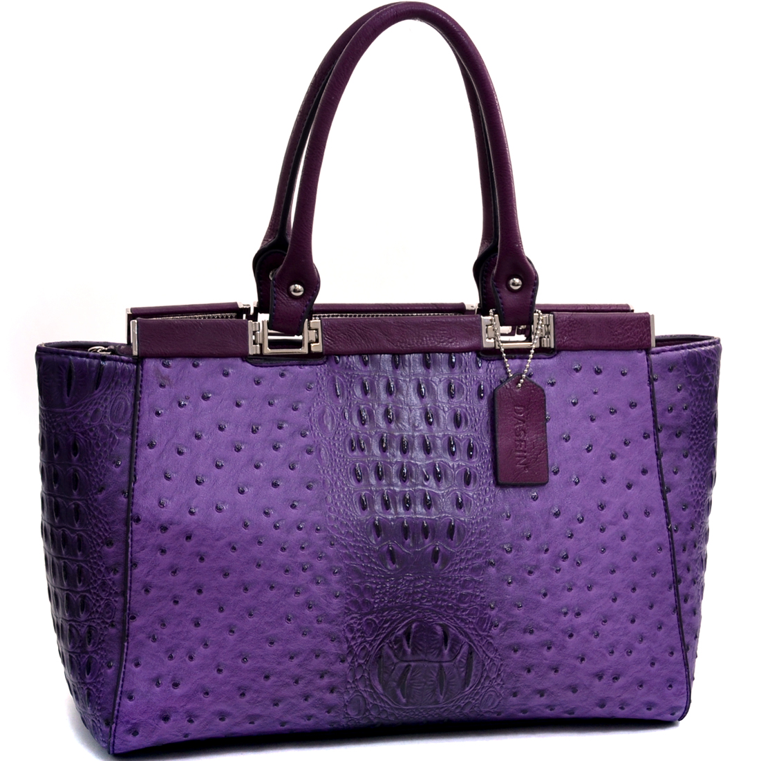 Dasein® Ostrich and Croco Fusion Wide Petite Tote