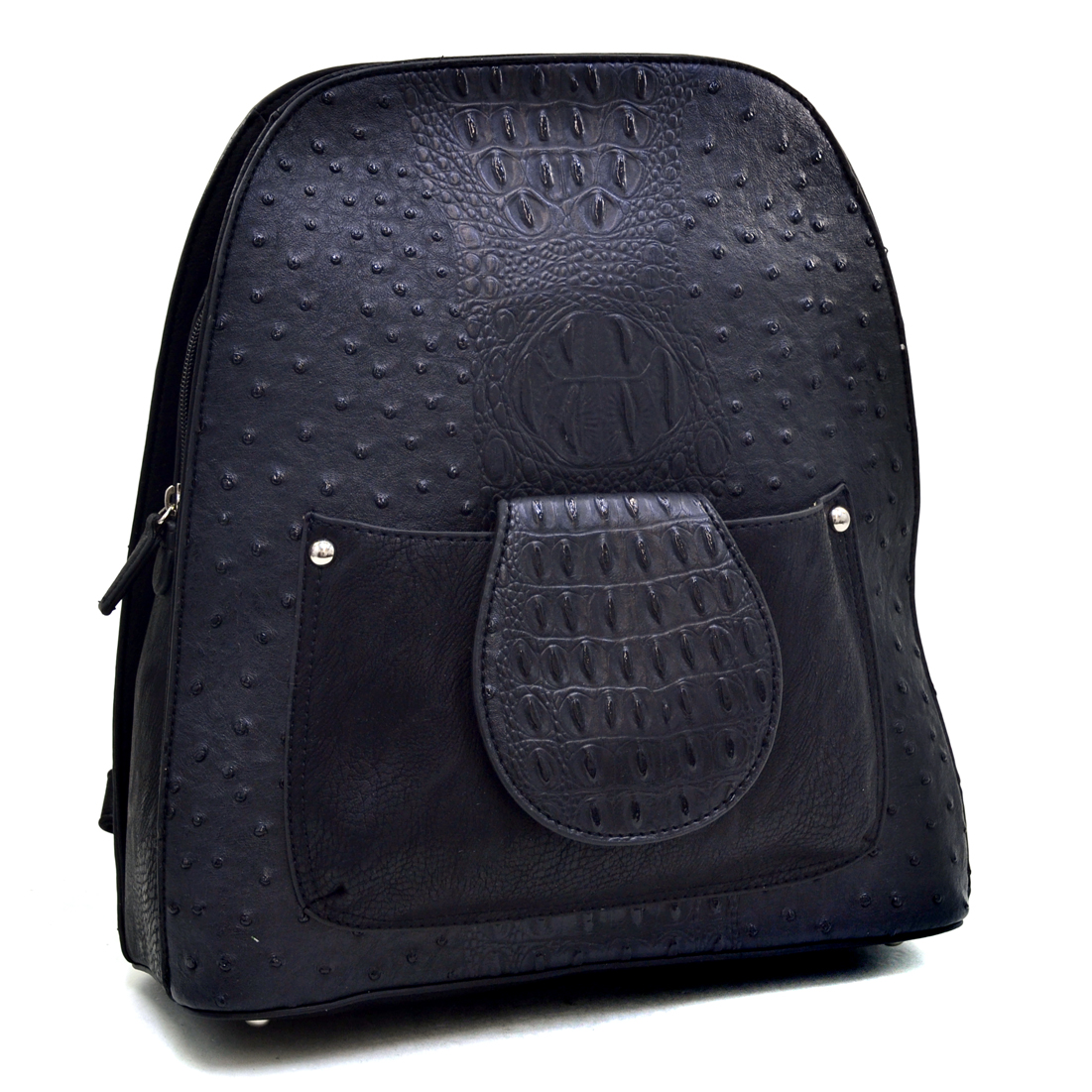 Dasein® Ostrich and Croco Fushion Textu Mini Backpack