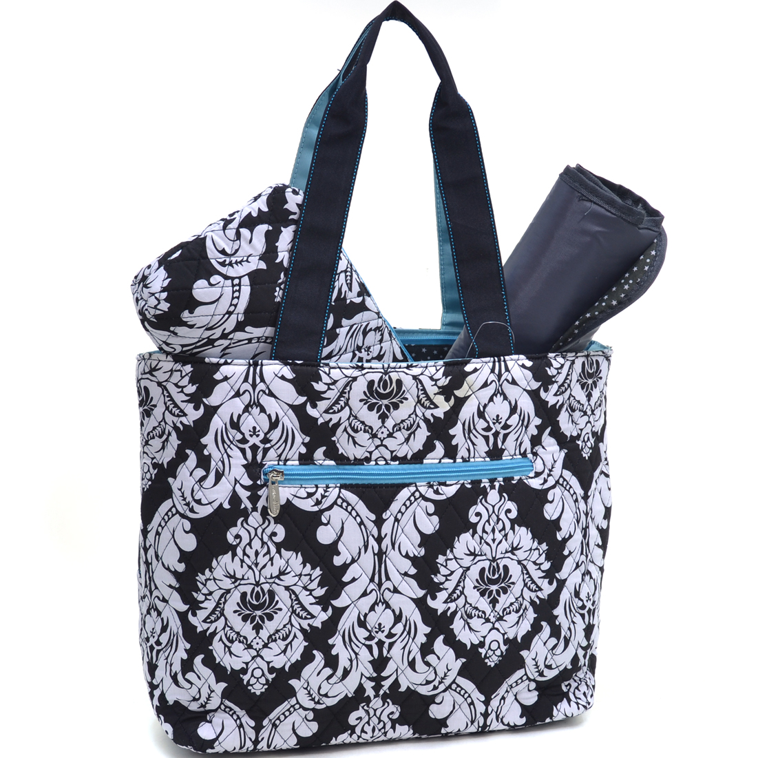Rosen Blue® Damask 3Piece Diaper Tote