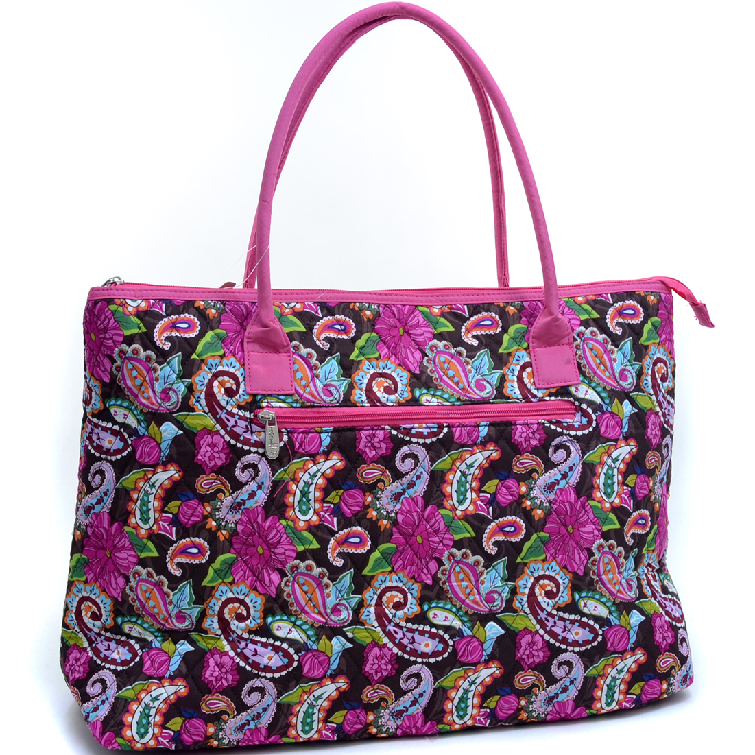 Rosen Blue® Oversized Quilted Tote Bag with Optional Bow Decor in Paisley Print