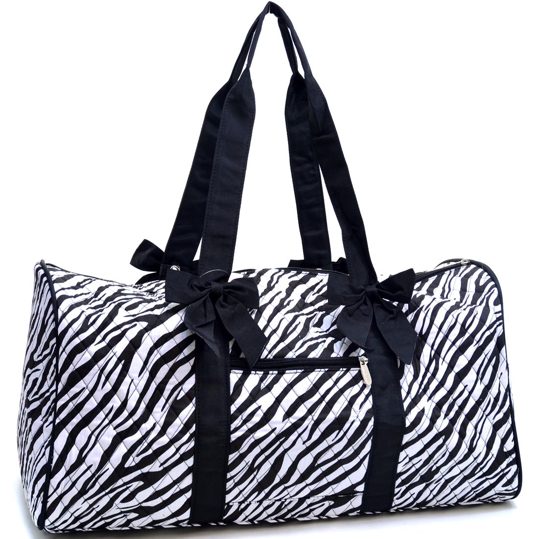 Rosen Blue® Large Quilted Duffle Bag with Bow Decor in Zebra Print