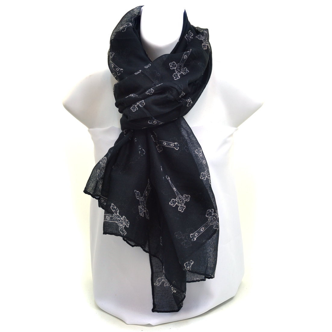 Scalloped Cross Print Scarf - Black/Beige