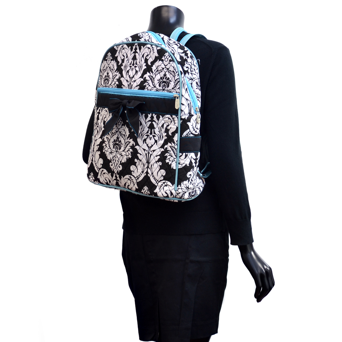 Rosen Blue® Damask Printed Quilted Backpack