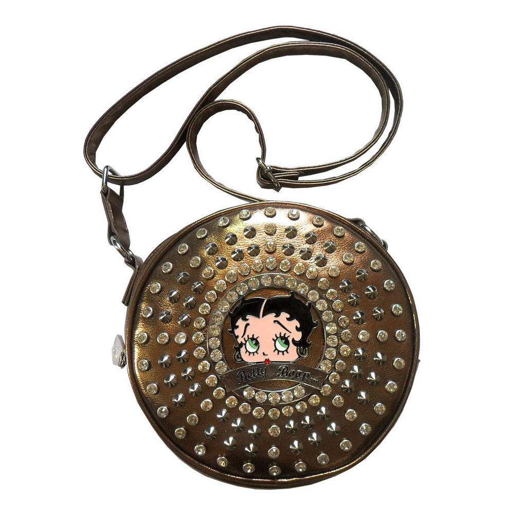 Betty Boop® Cylinder Messenger Bag With Rhinestones and Stud Accent
