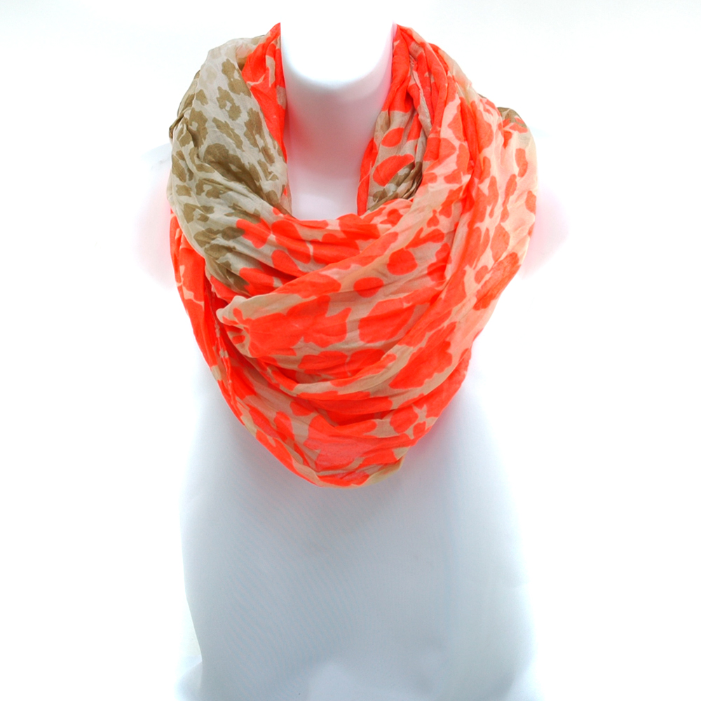 Two Toned Leopard Print Infinity Loop Scarf