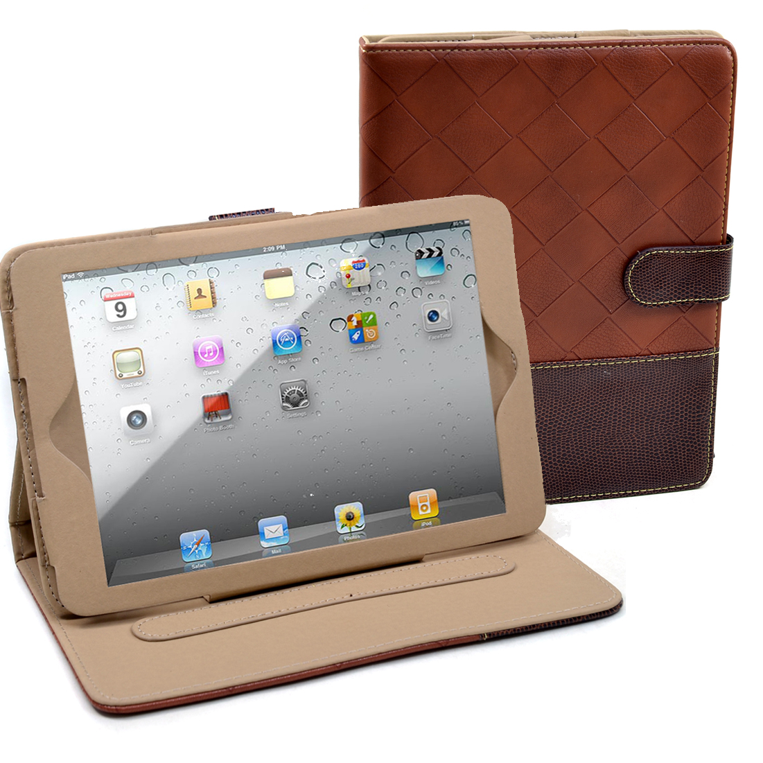 Dasein® Faux Weave Leather and Snakeskin Trim iPad Mini Case