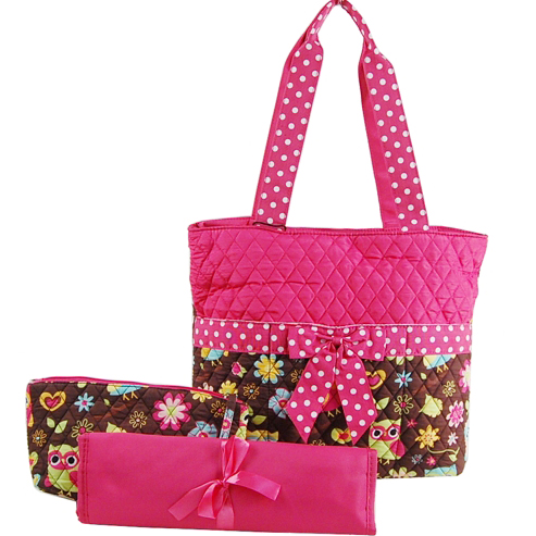 Owl and Flower Print Quilted 3pc Diaper Bag With Polka Dot Trim
