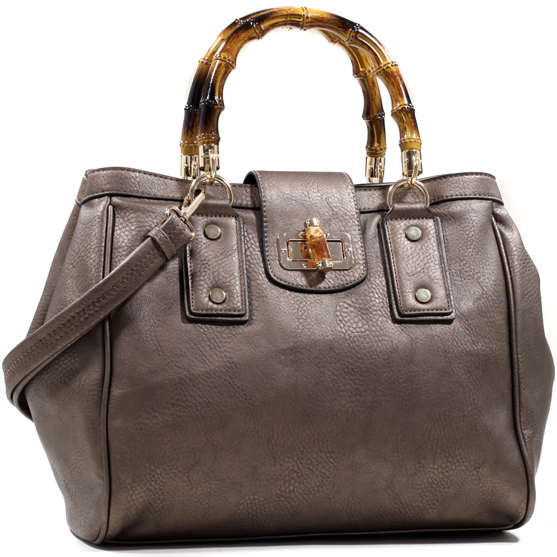 Classic Satchel w/ Wood Style Accents and Twist Lock Closure
