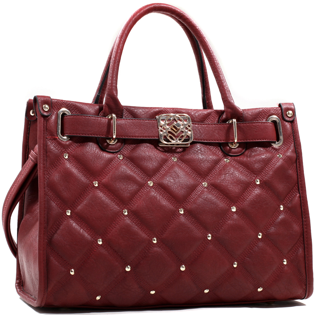 Emperia® Quilted Briefcase Style Tote with Cone Studs
