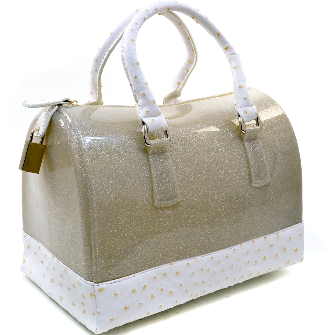 Ostrich Trim Glitter Jelly Satchel