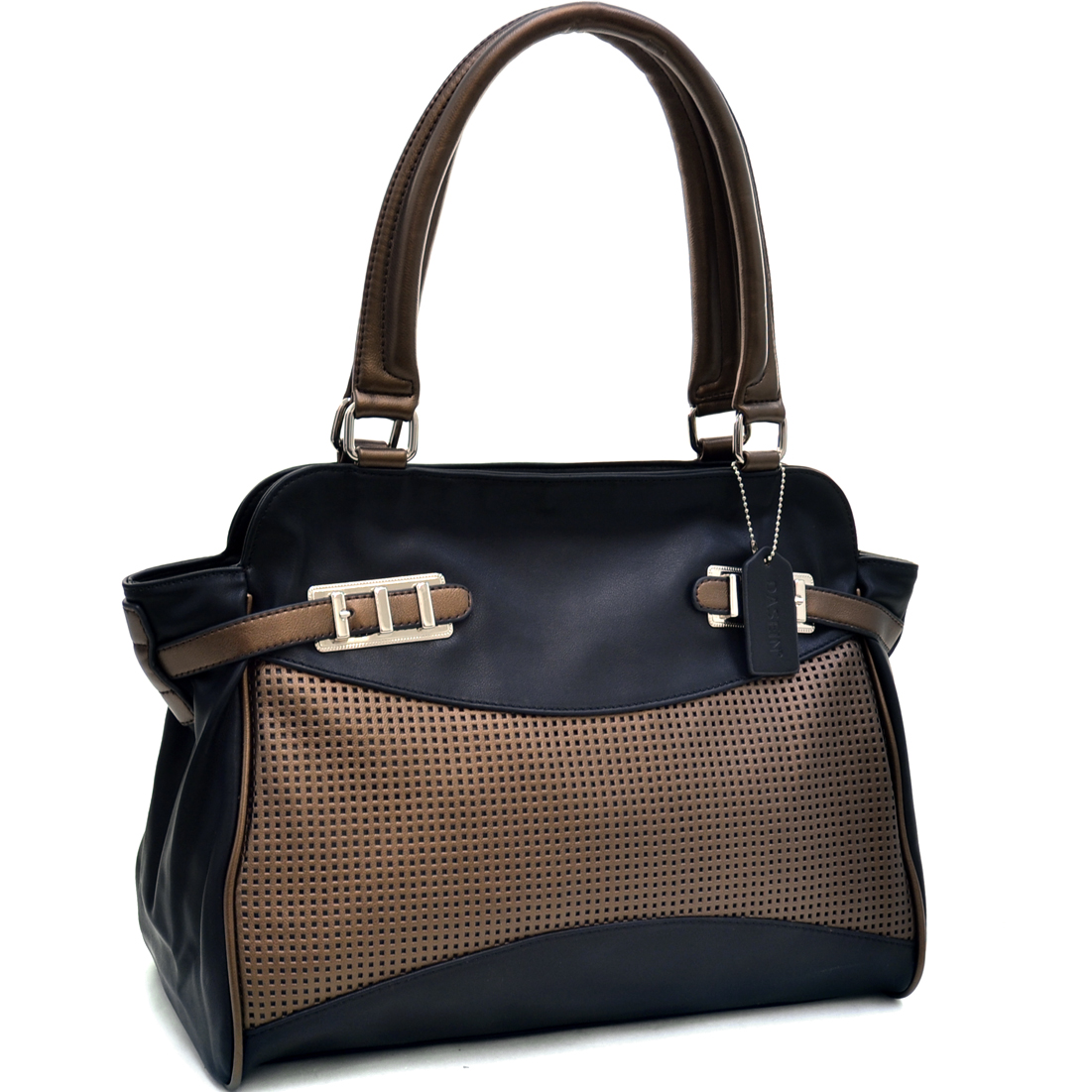 Dasein® Two Tone Mesh Panel Shoulder Bag With Belted Accents