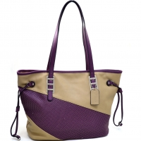 Dasein® Two Tone Mesh Panel Tote Bag with Drawstring Accents