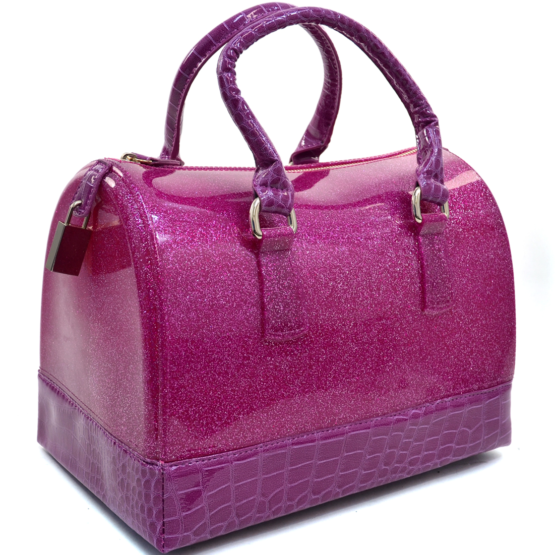 Croco Trim Glitter Jelly Satchel