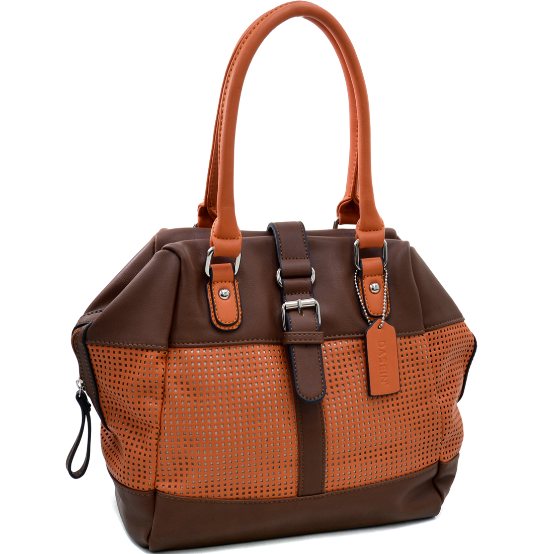 Dasein® Two Tone Mesh Panel Winged Satchel Bag
