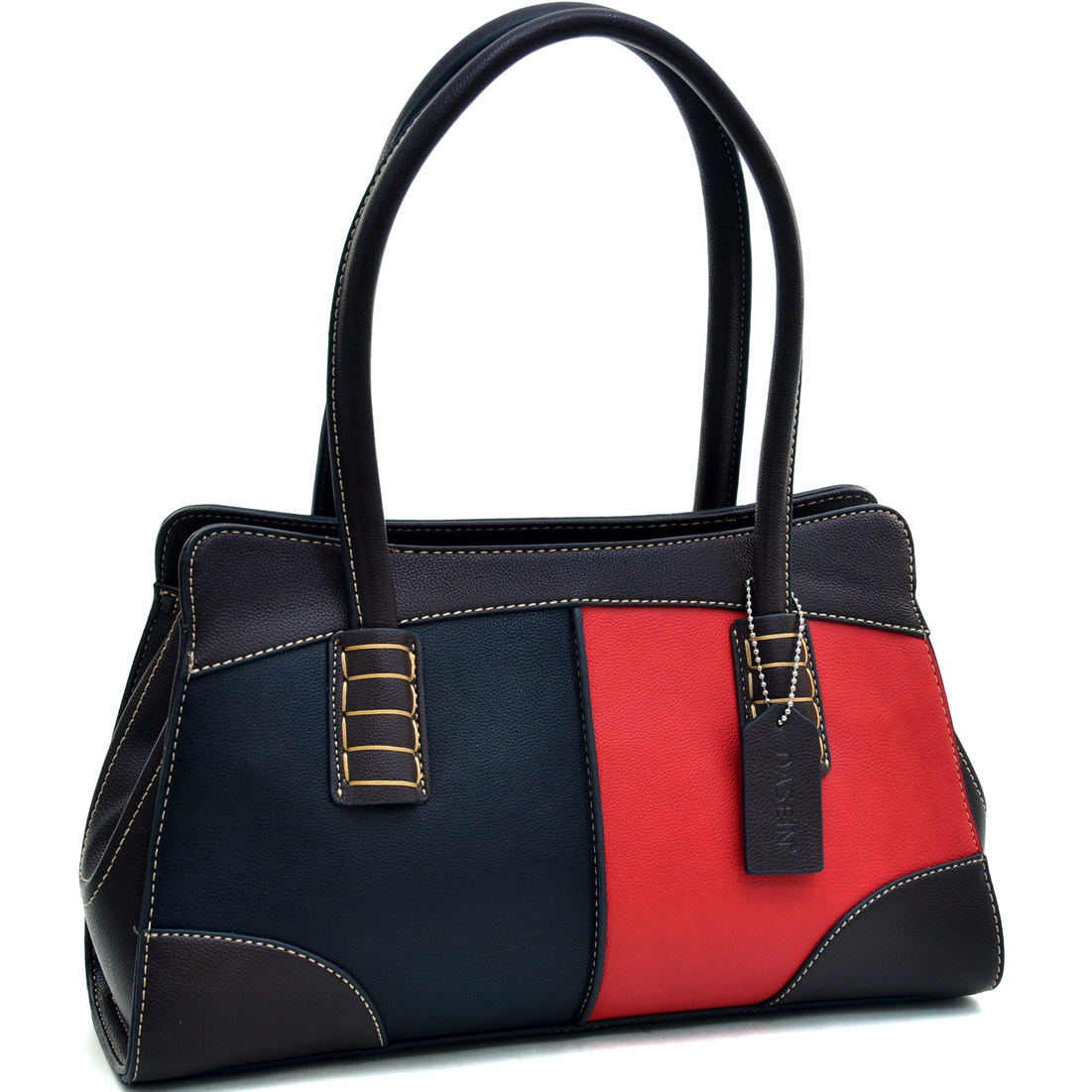 Dasein® Color Block Shoulder Bag With Stitch Design