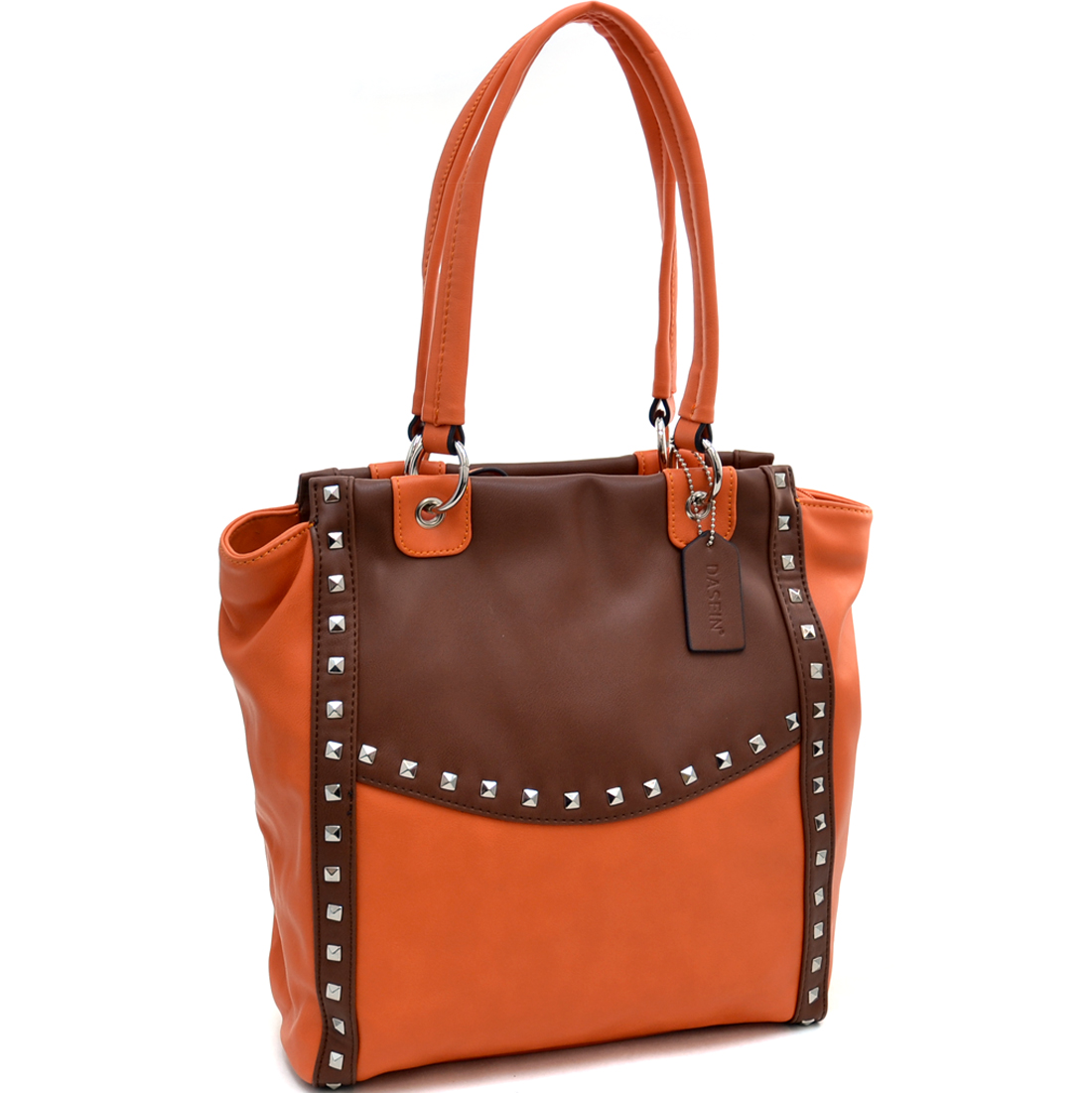 Dasein® Pyramid Studded Two Tone Winged Tote