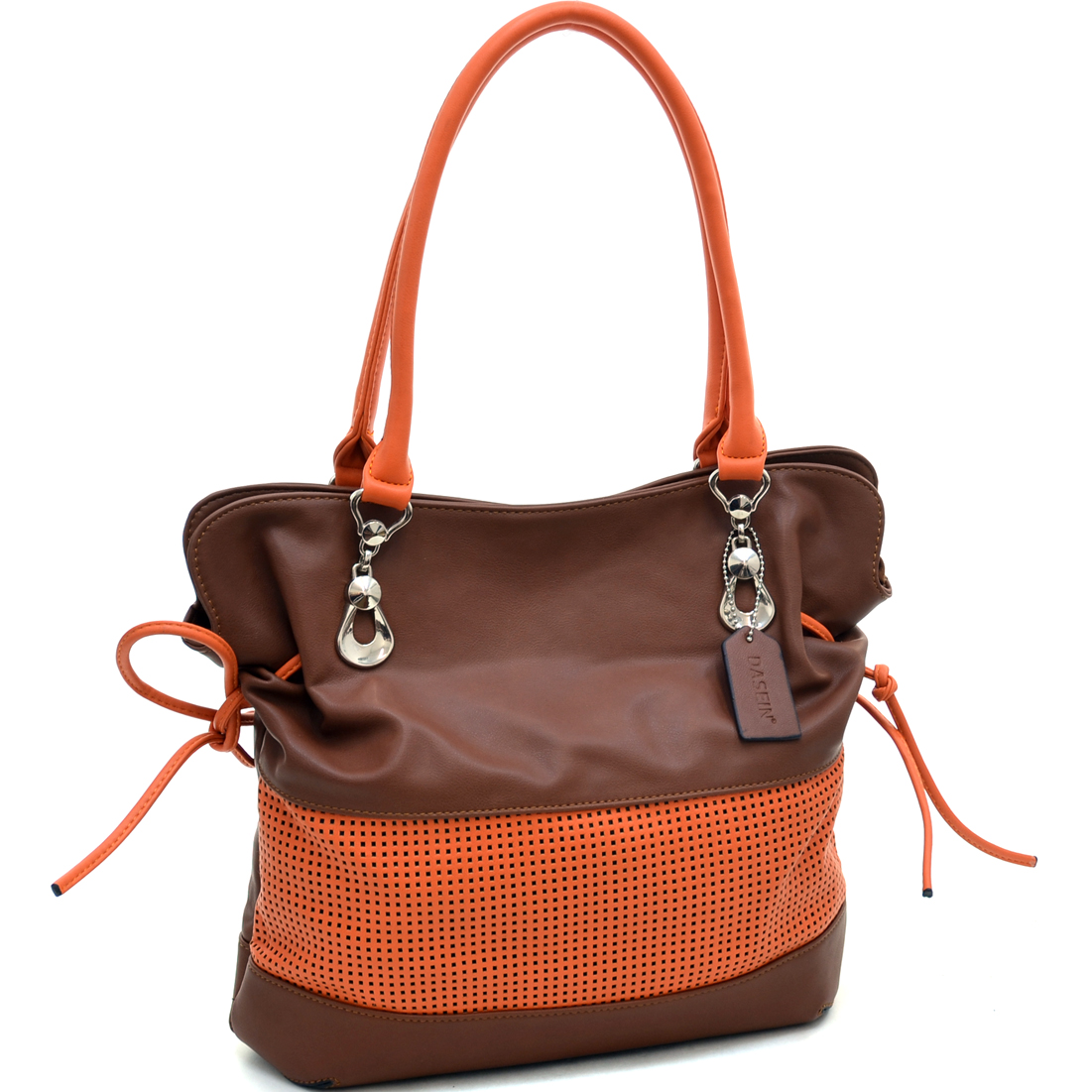 Two Tone Mesh Panel Shoulder Bag