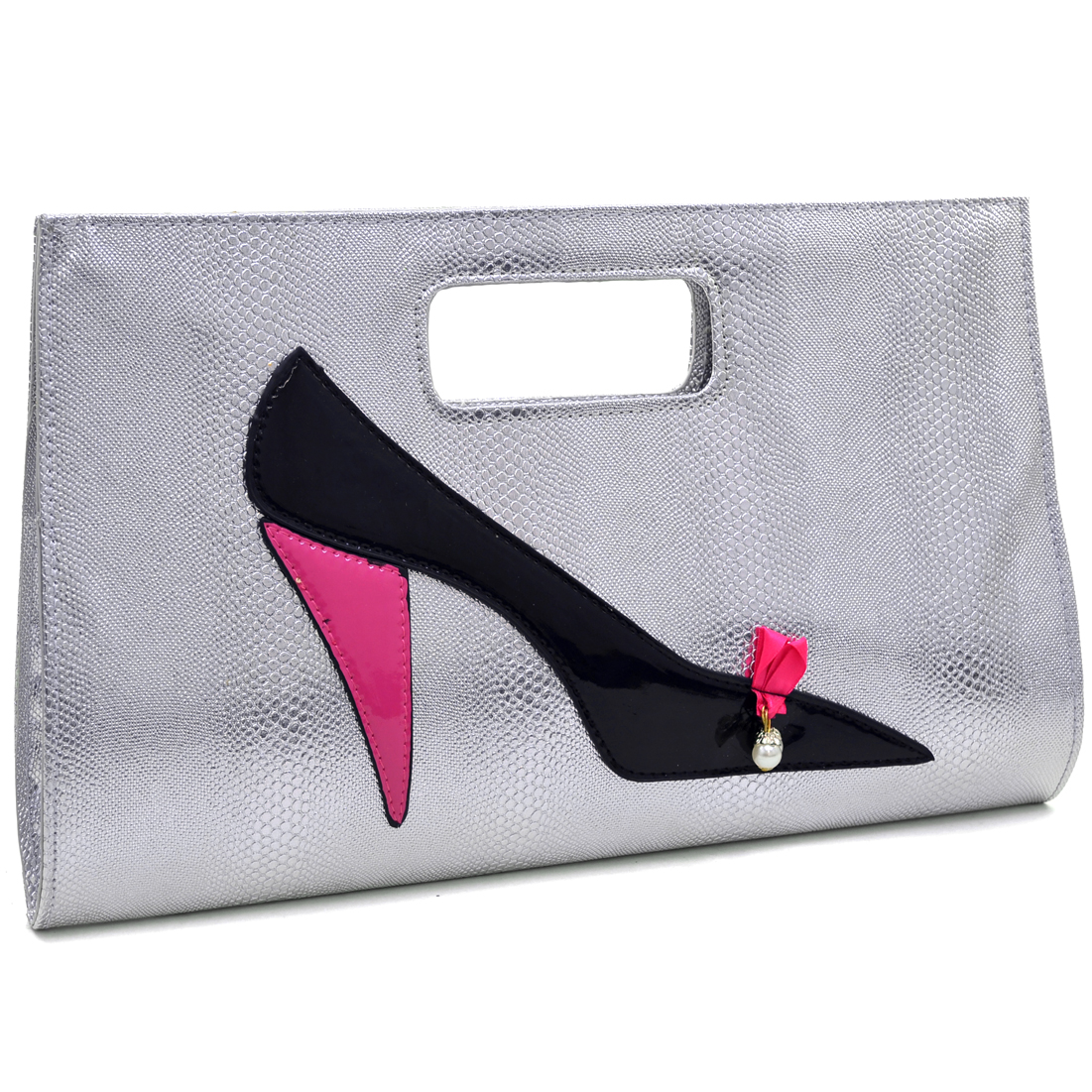 Dasein® High Heel on Snakeskin Textured Evening Clutches