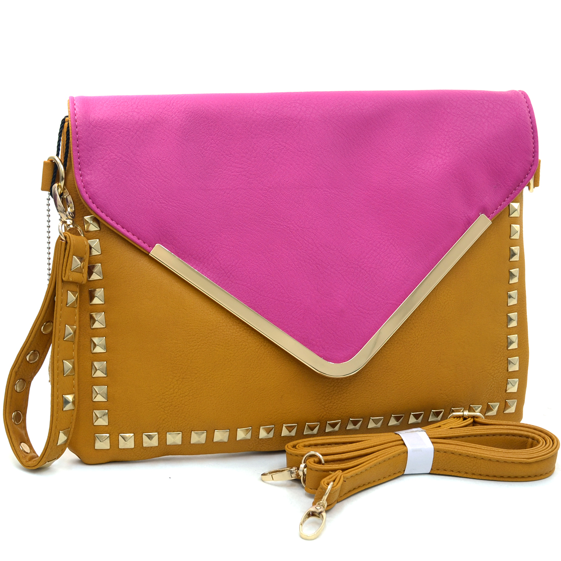 Dasein® Large Two Tone Studded Envelope Clutch