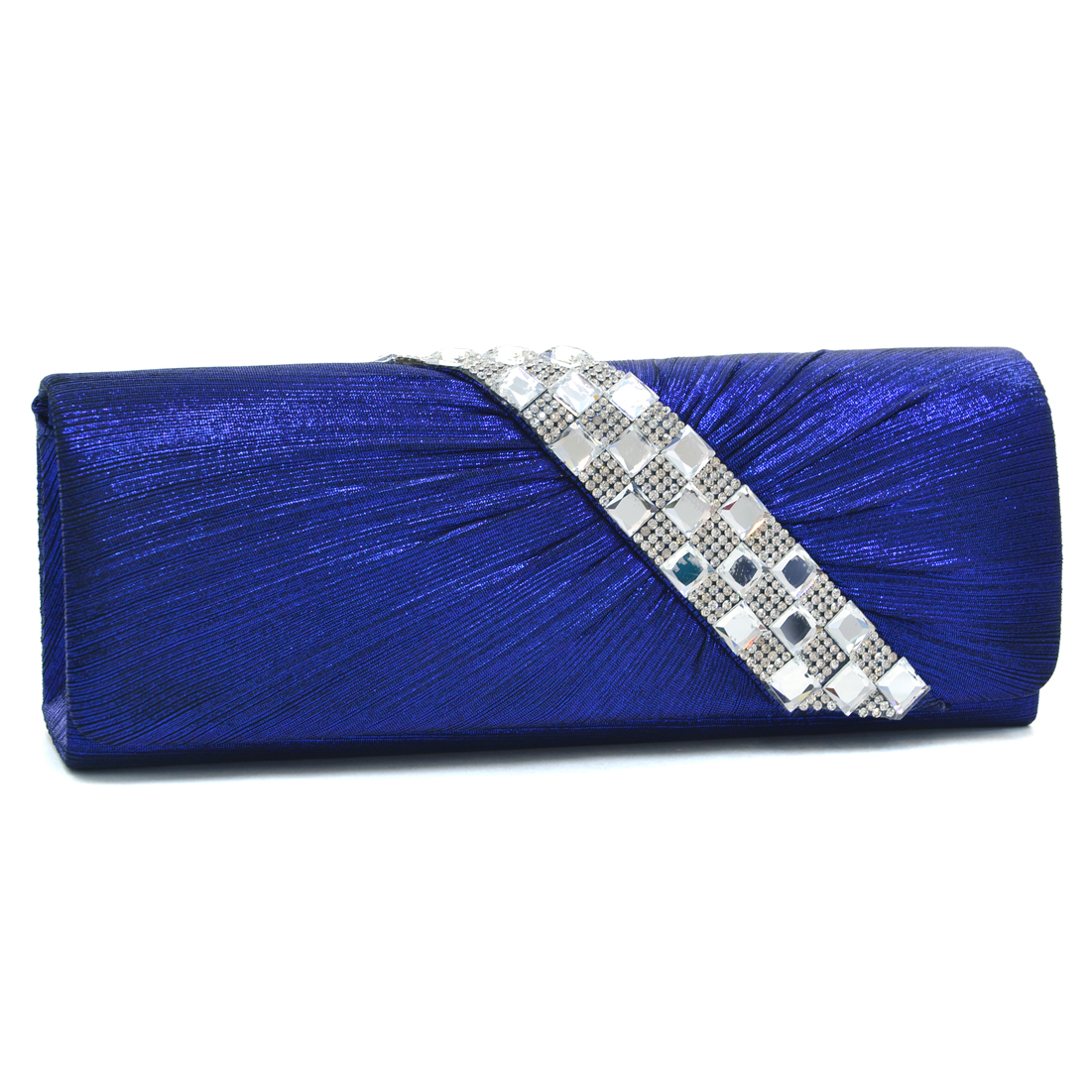 Dasein® Pleated Asymmetric Jewel Evening Clutch