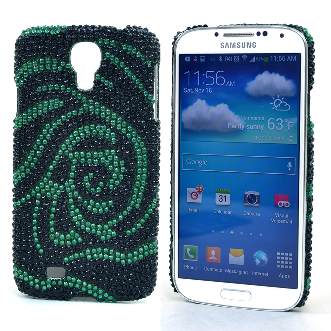 Dasein® Rhinestone Embellished Rose Cell Phone Case for Samsung Galaxy S4