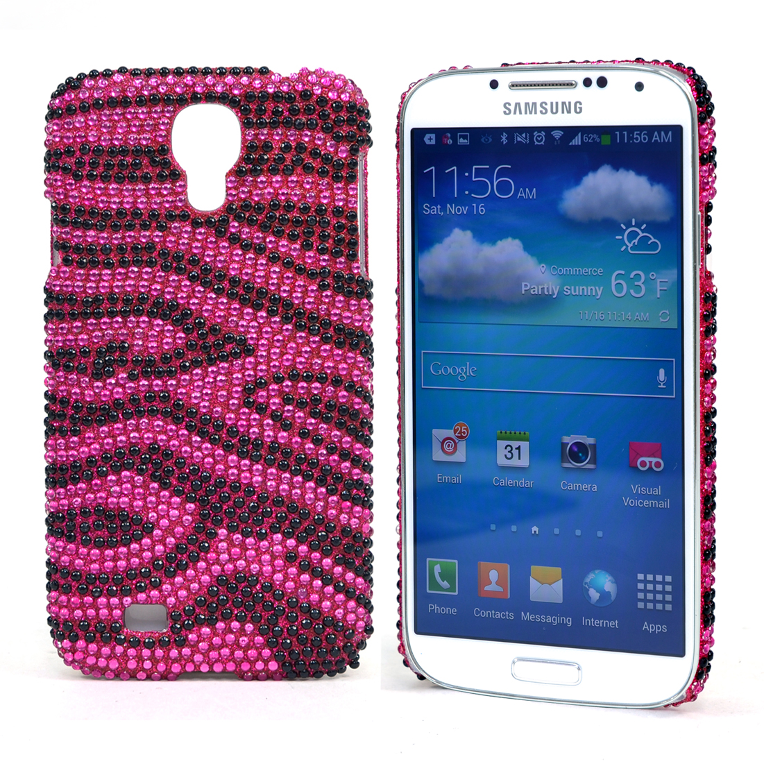 Dasein® Rhinestone Embellished Zebra Cell Phone Case for Samsung Galaxy S4