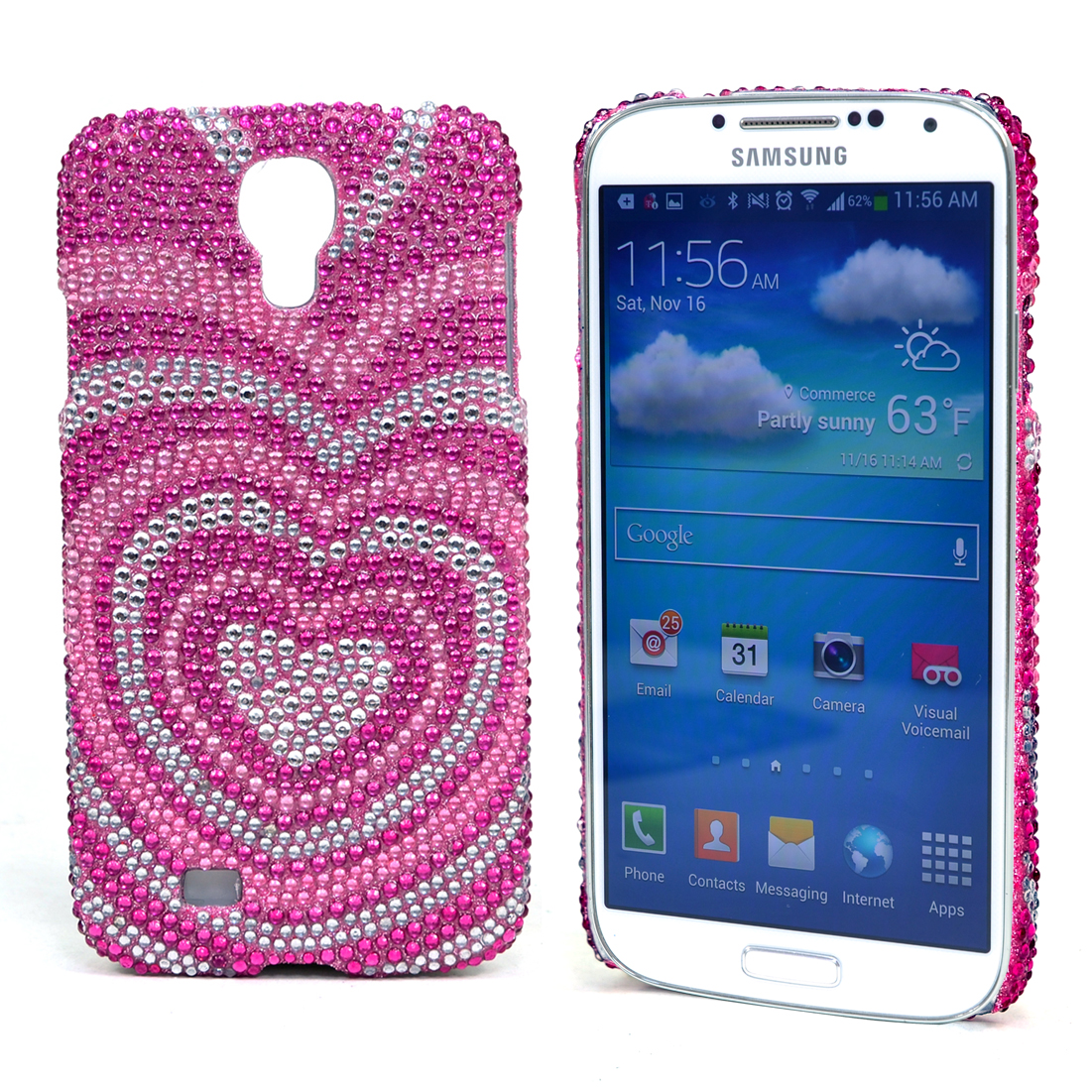 Dasein® Rhinestone Embellished Heart Cell Phone Case for Samsung Galaxy S4