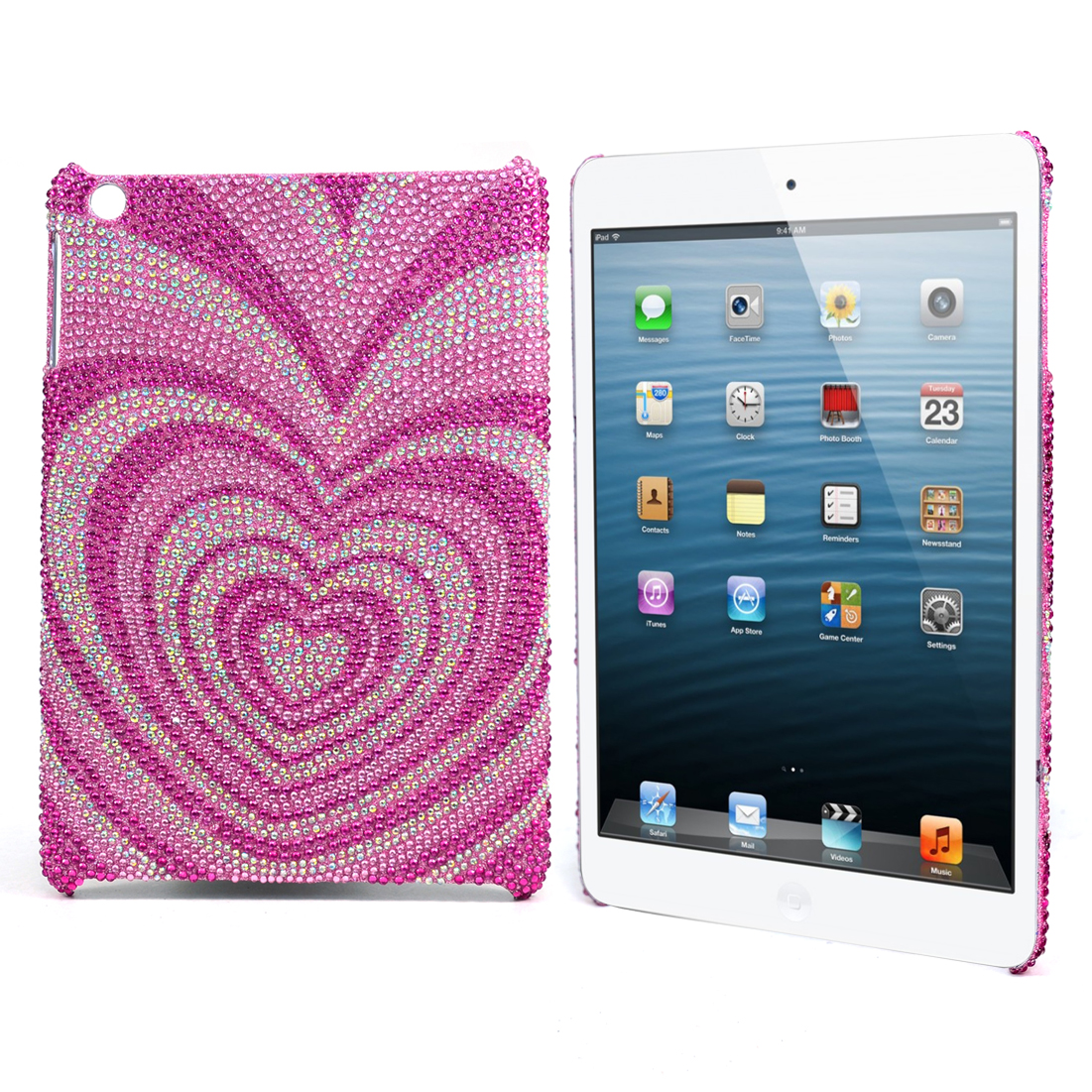 Rhinestone Embellished Heart Design iPad Mini Case