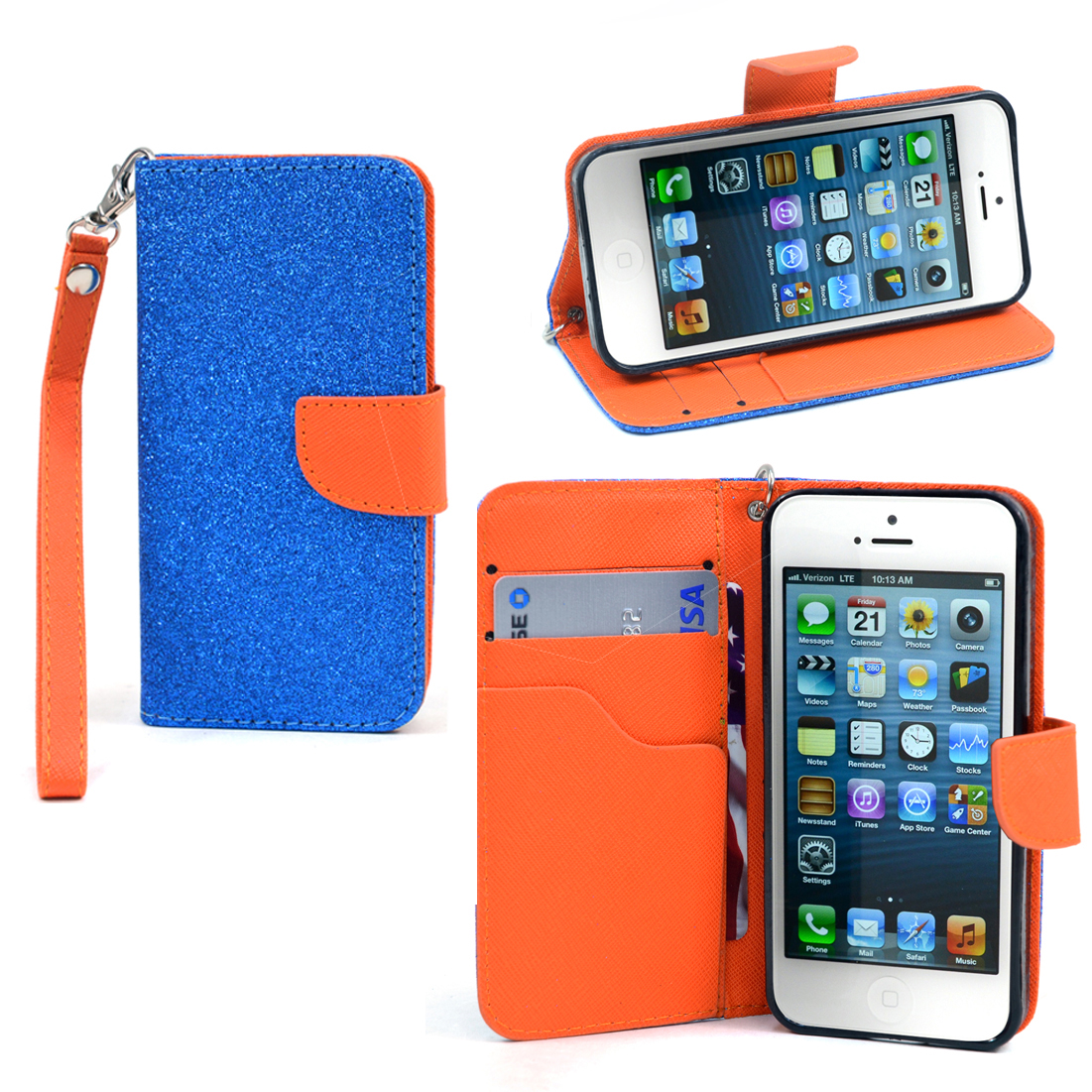 Dasein® Metallic Glitter Cell Phone Case With Wrist Strap for iPhone 5