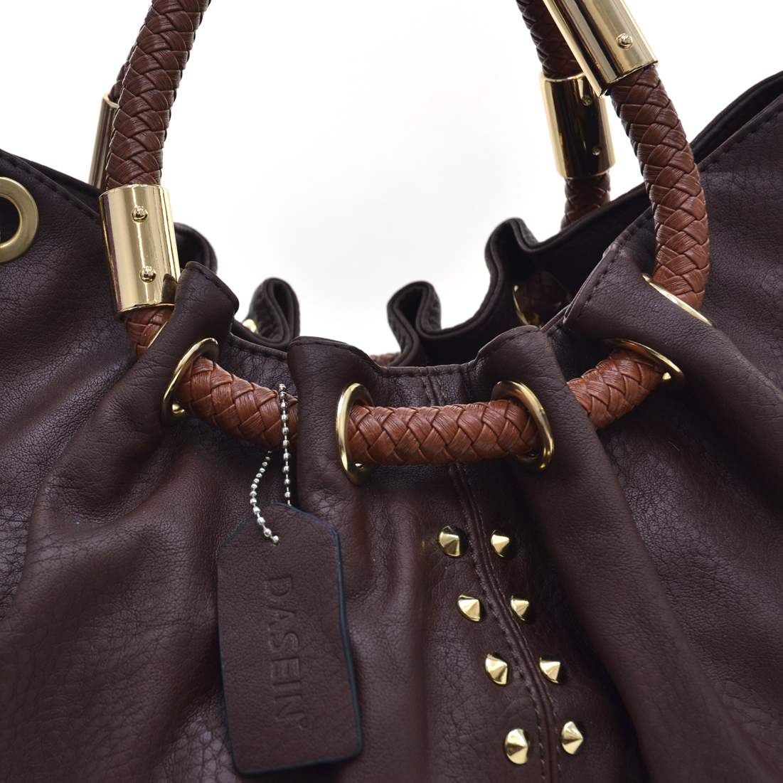 Dasein® Cone Studded Satchel With Braided Handles