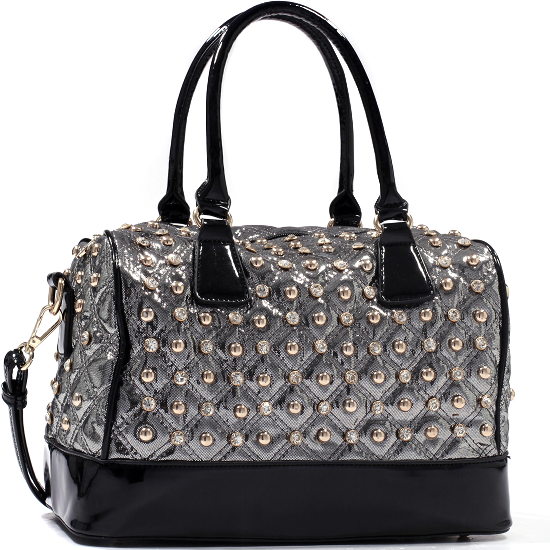 Isabelle® Rhinestone Studded Quilted Satchel